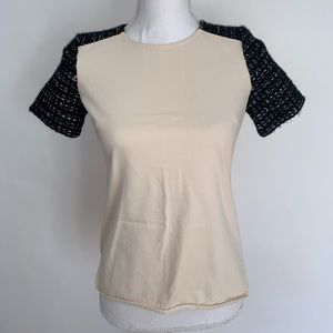J Crew Cream Top Short Sleeve Tweed Size XXS